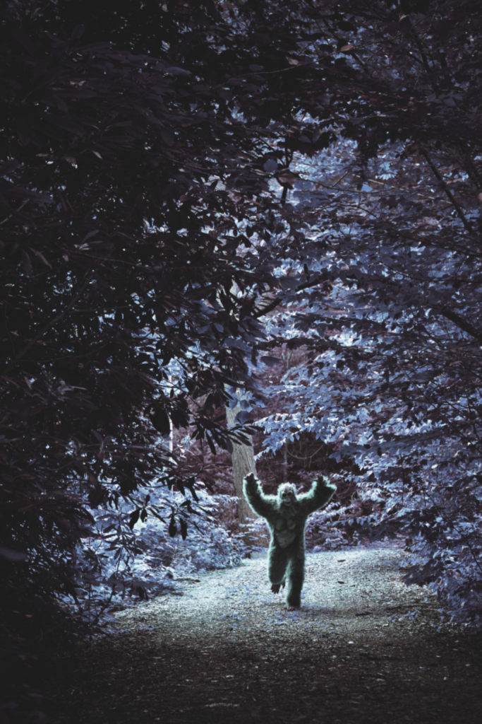 A bigfoot running through the forest with arms up.