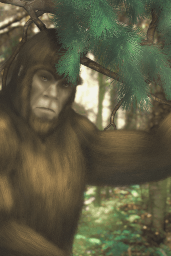Does Bigfoot Really Exist? A Bigfoot in a forest next to a pine tree.